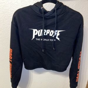 Purpose world tour cropped hoodie